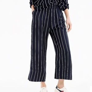 j crew | cropped silk pull-on pant in pinstripe